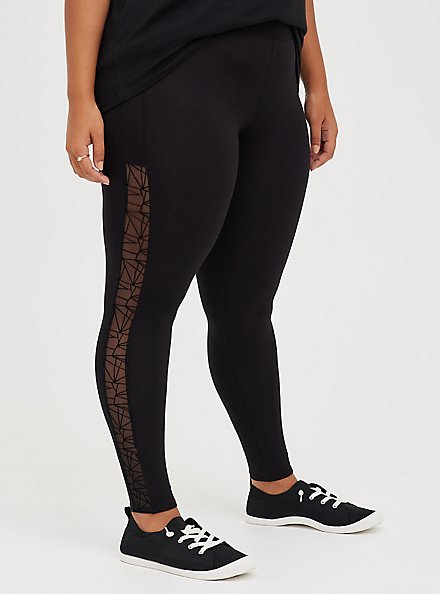Premium Legging - Flocked Side Geo Floral Black, BLACK, alternate