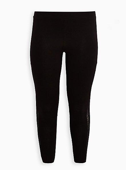Premium Legging - Flocked Side Geo Floral Black, BLACK, hi-res