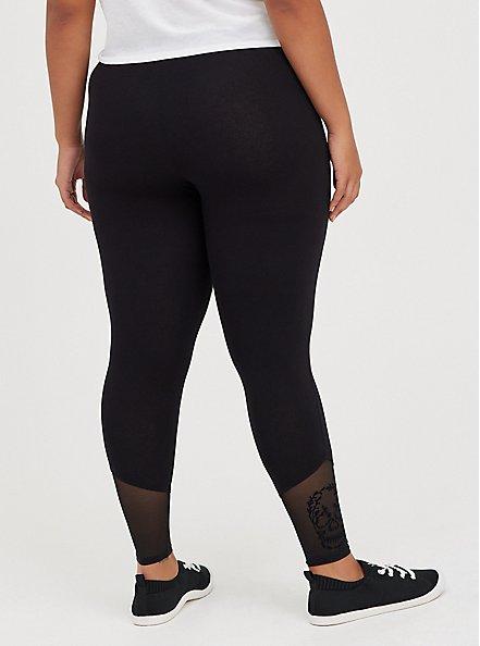 Premium Legging - Flocked Leg Floral Skull Black, BLACK, alternate