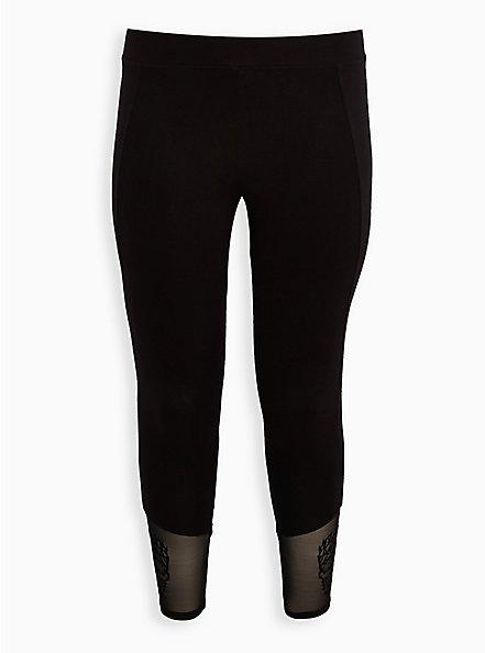 Premium Legging - Flocked Leg Floral Skull Black, BLACK, hi-res