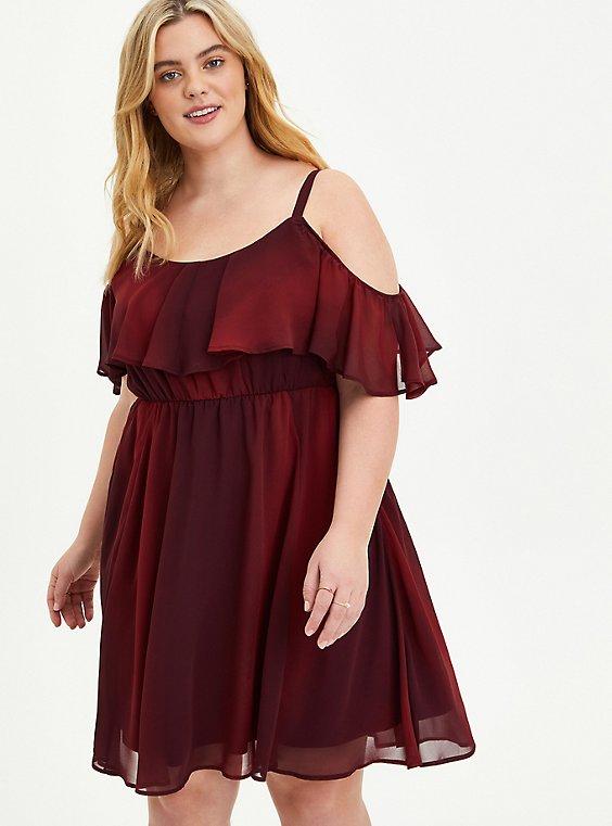 Burgundy Chiffon Cold Shoulder Skater Dress, , hi-res