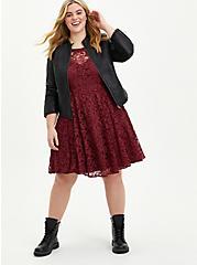 Halter Skater Dress - Lace Burgundy, ZINFANDEL, alternate