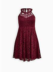 Halter Skater Dress - Lace Burgundy, ZINFANDEL, hi-res