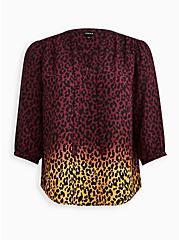 Peasant Blouse - Georgette Ombre Leopard, LEOPARD, hi-res