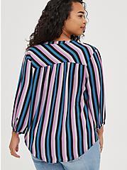 Peasant Blouse - Georgette Purple Stripe, STRIPE - MULTI, alternate