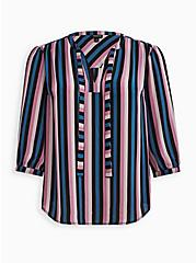 Peasant Blouse - Georgette Purple Stripe, STRIPE - MULTI, hi-res
