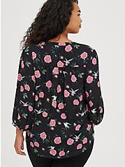 Plus Size Peasant Blouse - Georgette Floral Black, FLORAL - BLACK, alternate