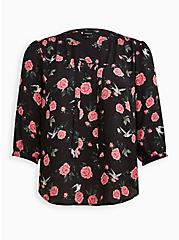 Plus Size Peasant Blouse - Georgette Floral Black, FLORAL - BLACK, hi-res