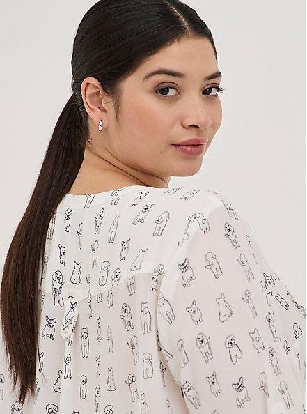 Harper Pullover Blouse - Georgette Simple Pups White, MULTI, alternate