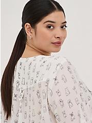 Plus Size Harper Pullover Blouse - Georgette Simple Pups White, MULTI, alternate