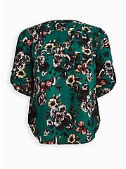 Harper Pullover Blouse - Georgette Floral Green, FLORAL - GREEN, hi-res