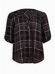 Harper - Georgette Plaid Black Pullover Blouse, PLAID - BLACK, hi-res