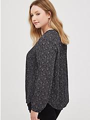 Plus Size Pintuck Blouse - Georgette Dot Black, DOT -BLACK, alternate