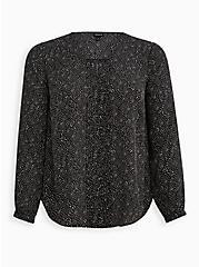 Plus Size Pintuck Blouse - Georgette Dot Black, DOT -BLACK, hi-res