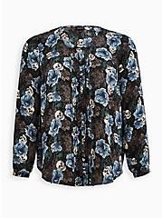 Plus Size Pintuck Blouse - Georgette Floral Skull Black, SKULL FLORALS-BLACK, hi-res
