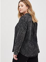 Button Down Shirt - Twill Mineral Wash Black, DEEP BLACK, alternate
