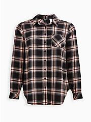 Breast Cancer Awareness Button Down Shirt - Twill Black & Pink, PLAID - GREY, hi-res
