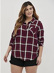 Button Down Shirt - Twill Plaid Wine , PLAID - PURPLE, alternate