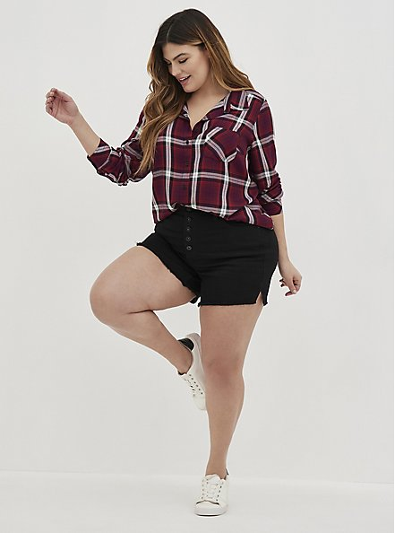 Button Down Shirt - Twill Plaid Wine , PLAID - PURPLE, hi-res