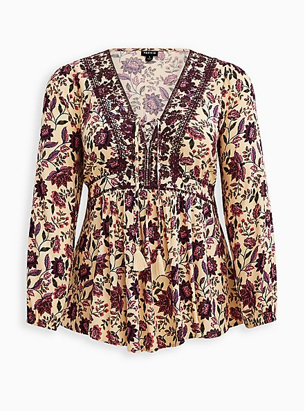 Plus Size Embroidered Lace Front Babydoll Top - Textured Challis Floral Sand, FLORAL - TAN, hi-res