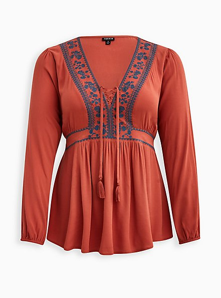 Embroidered Lace Up Babydoll Top - Textured Challis Rust , REDWOOD, hi-res