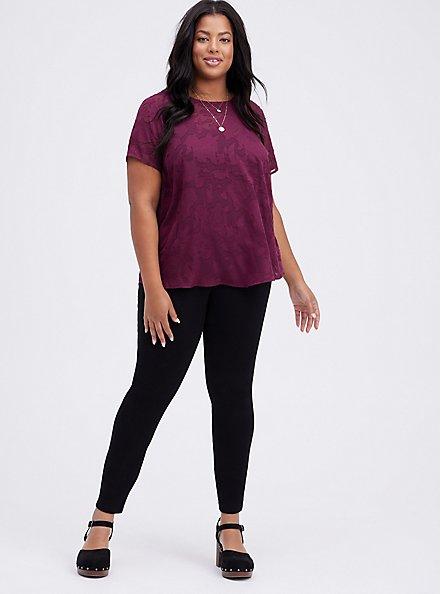 Plus Size Abbey Blouse - Textured Floral Dark Purple, VIOLET, alternate