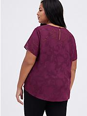 Abbey Blouse - Textured Floral Dark Purple, VIOLET, alternate