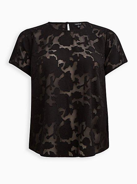Abbey - Lace Textured Floral Black Blouse, DEEP BLACK, hi-res