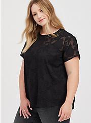 Plus Size Abbey - Lace Textured Floral Black Blouse, DEEP BLACK, hi-res