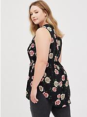 Plus Size Emma Babydoll Tunic - Challis Black Floral , FLORAL - BLACK, alternate