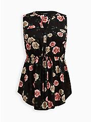 Plus Size Emma Babydoll Tunic - Challis Black Floral , FLORAL - BLACK, hi-res