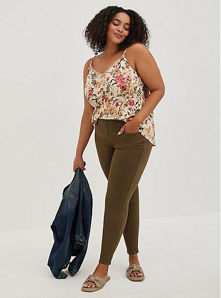Plus Size Ava Cami - Stretch Challis Floral Beige, , alternate