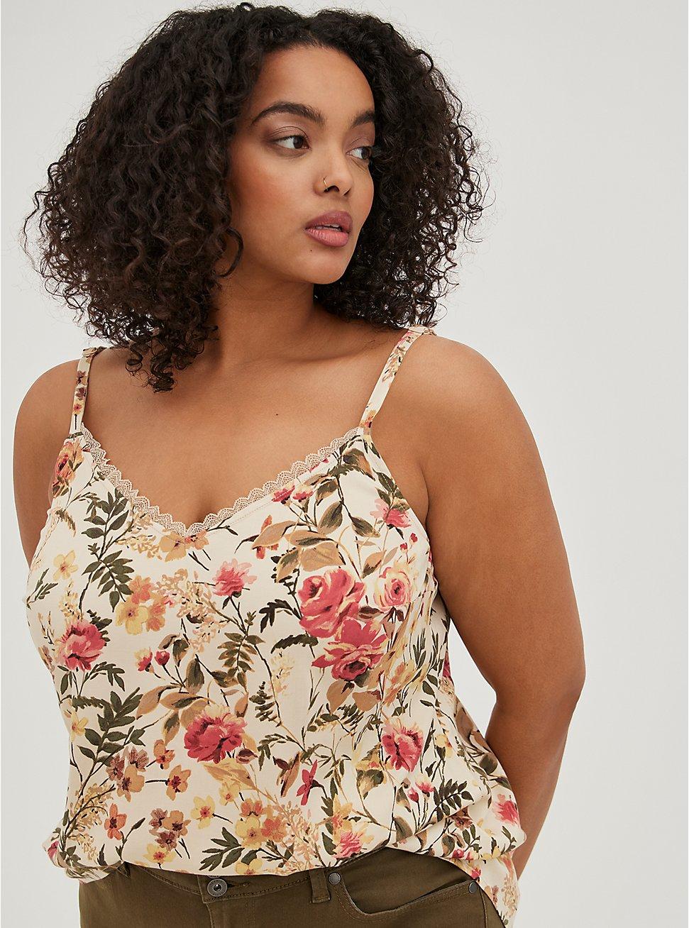 Plus Size Ava Cami - Stretch Challis Floral Beige, , hi-res