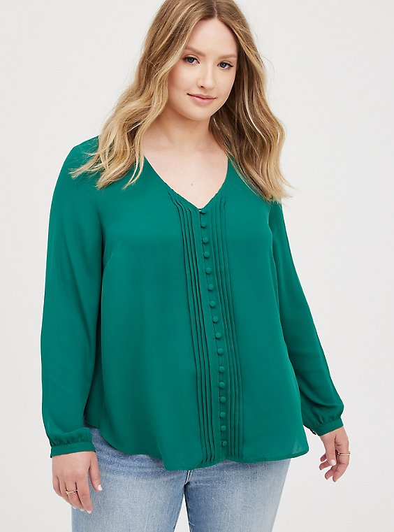 Pintuck Blouse - Georgette Green, EVERGREEN, hi-res