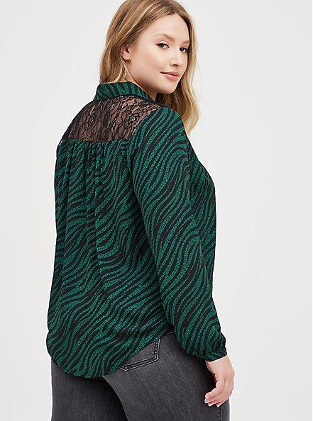 Plus Size Drop Shoulder Shirt - Georgette Lace Leopard Wave, LEOPARD-GREEN, alternate