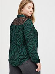 Drop Shoulder Shirt - Georgette Lace Leopard Wave, LEOPARD-GREEN, alternate