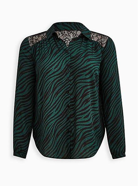 Plus Size Drop Shoulder Shirt - Georgette Lace Leopard Wave, LEOPARD-GREEN, hi-res