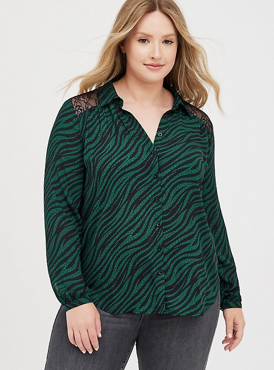 Drop Shoulder Shirt - Georgette Lace Leopard Wave, LEOPARD-GREEN, hi-res