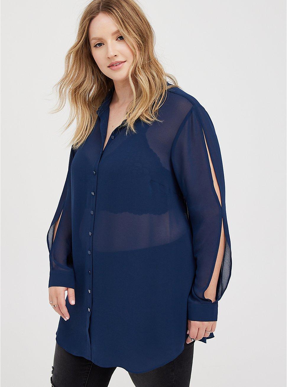 Cold Shoulder Tunic Shirt - Chiffon Navy, DRESS BLUE, hi-res