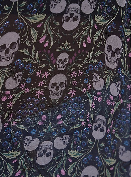 Cold Shoulder Tunic Shirt - Chiffon Garden Skulls Black, SKULL FLORALS-BLACK, alternate
