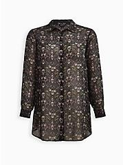 Cold Shoulder Tunic Shirt - Chiffon Garden Skulls Black, SKULL FLORALS-BLACK, hi-res