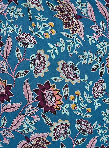 Split Front Blouse - Georgette Floral Dark Blue, FLORAL - BLUE, alternate