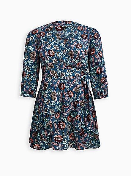 Split Front Blouse - Georgette Floral Dark Blue, FLORAL - BLUE, hi-res