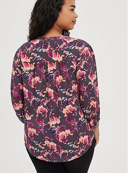 Plus Size Breast Cancer Awareness Peasant Blouse - Georgette Floral Grey, FLORAL - GREY, alternate