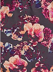 Breast Cancer Awareness Peasant Blouse - Georgette Floral Grey, FLORAL - GREY, alternate
