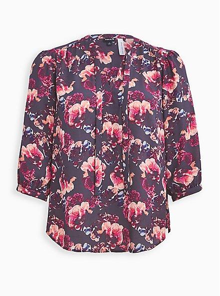 Plus Size Breast Cancer Awareness Peasant Blouse - Georgette Floral Grey, FLORAL - GREY, hi-res