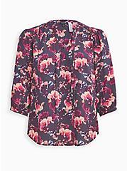 Breast Cancer Awareness Peasant Blouse - Georgette Floral Grey, FLORAL - GREY, hi-res