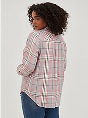 Button Down Shirt - Twill Plaid Grey & Pink, PLAID - GREY, alternate