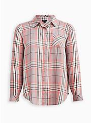 Button Down Shirt - Twill Plaid Grey & Pink, PLAID - GREY, hi-res