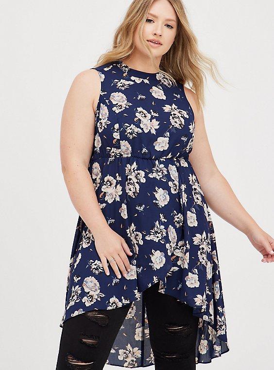 Hi-Lo Halter Tunic - Georgette Floral Blue , FLORAL - BLUE, hi-res